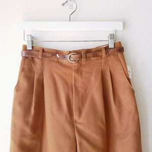90's High Waisted Tan Pleated Trousers